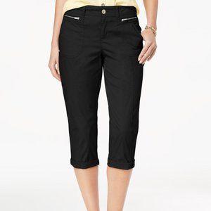 !~ Deep Black Cuffed Capri Pants w/ Zip Pockets ~!